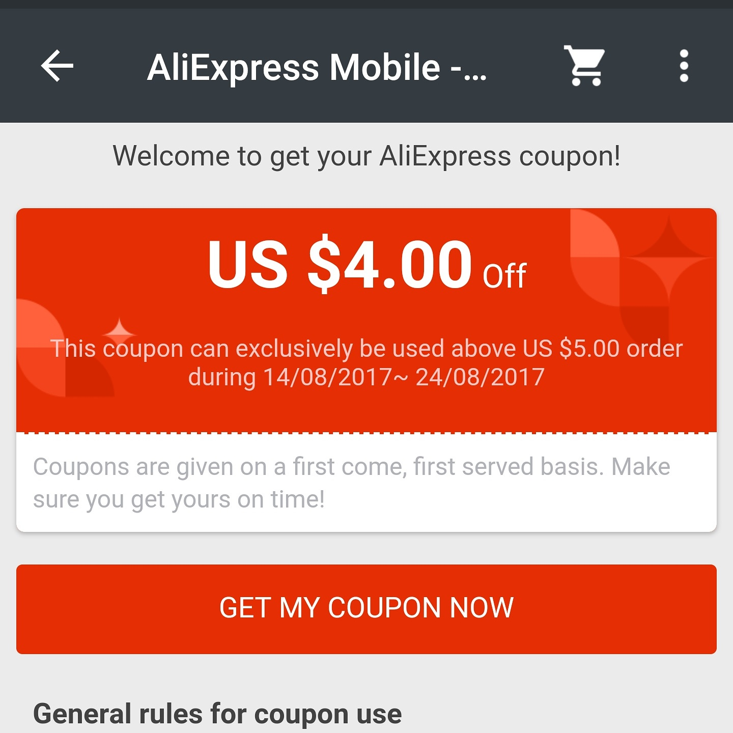 Cupon General Aliexpress