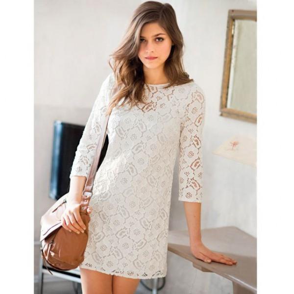 338ad053b2c Robe dentelle blanc manche 3 4 - Vêtement Aliexpress