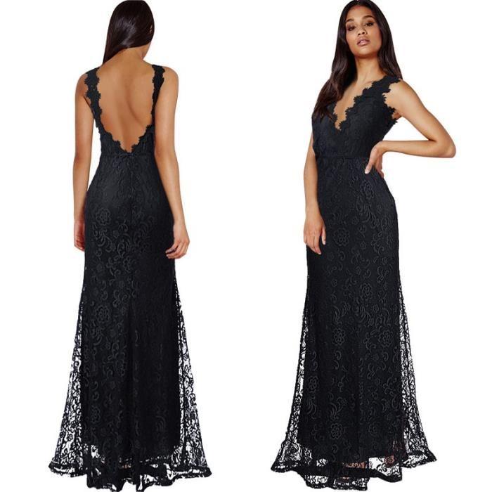 Robe longue dentelle noire transparente